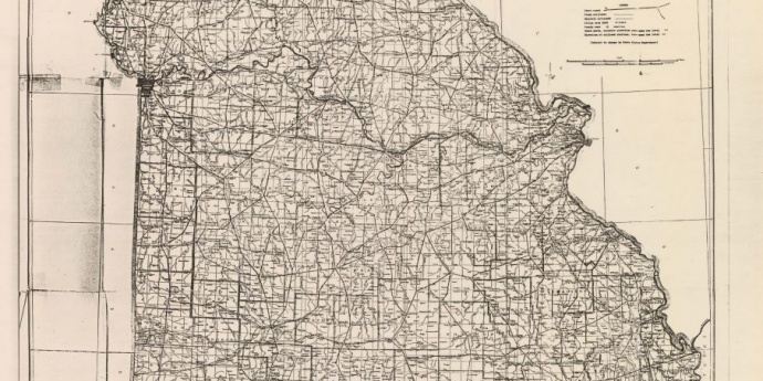 the state map of Missouri in 1918