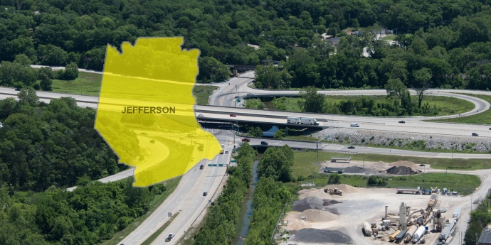 Banner for Jefferson County construction.