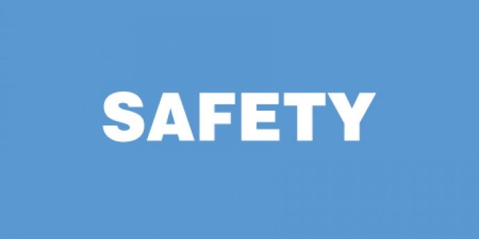 "Light blue square with ""SAFETY"" text"