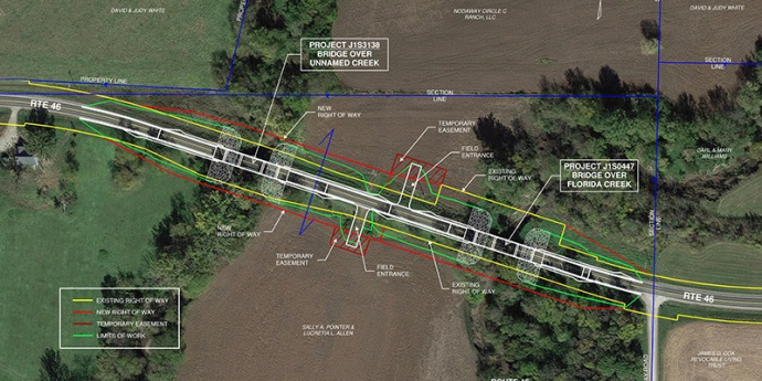 Overhead view of planned work at Florida Creek