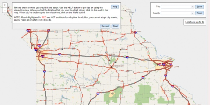 Adopt A Highway Map Feature Graphic