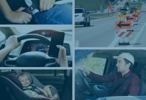 a collage of drivers and passengers
