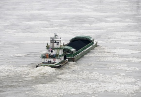 Barge with freight container