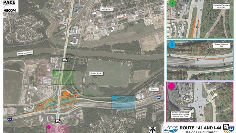 The overall plan at the I-44 and Route 141 interchange