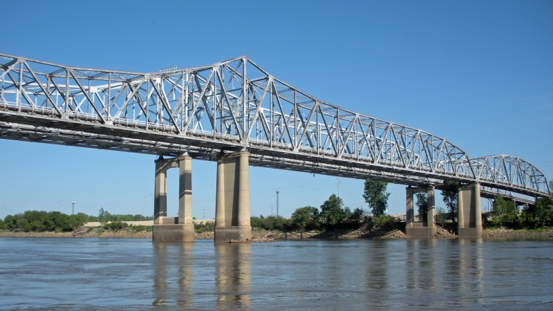 The historic Fairfax Bridge over the Missouri River.