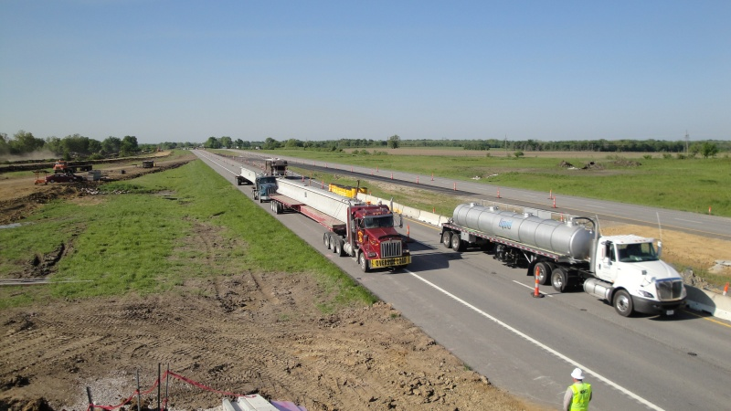 Bridge Girders Delivered to New I-49 Interchange