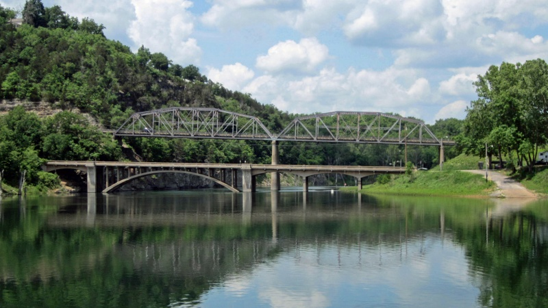 Historic bridges over Swan Creek at Bull Shoals Lake