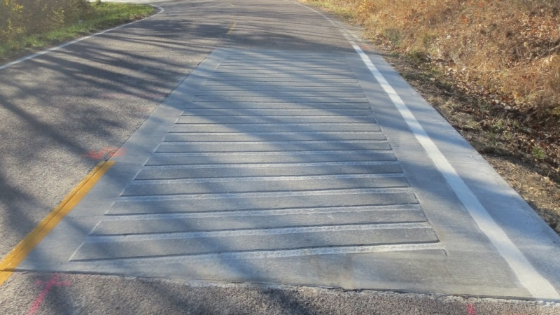 Photo of across the lane rumble strips.