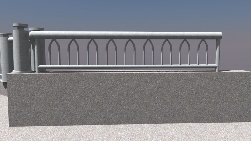 Third rendering of bridge railing