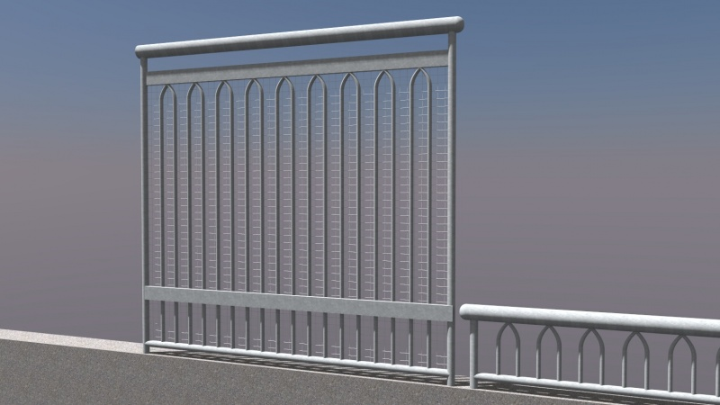 Fourth rendering of bridge railing