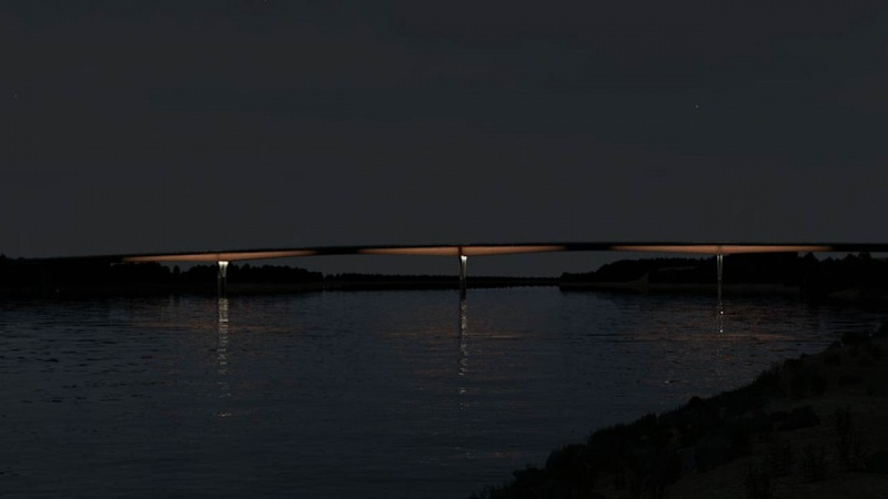 Rendering of bridge on the riverfront at night