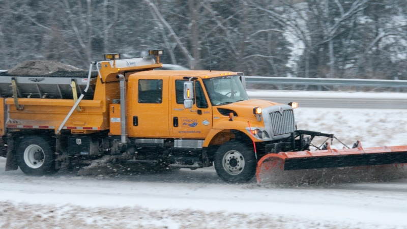 a snow plow at work