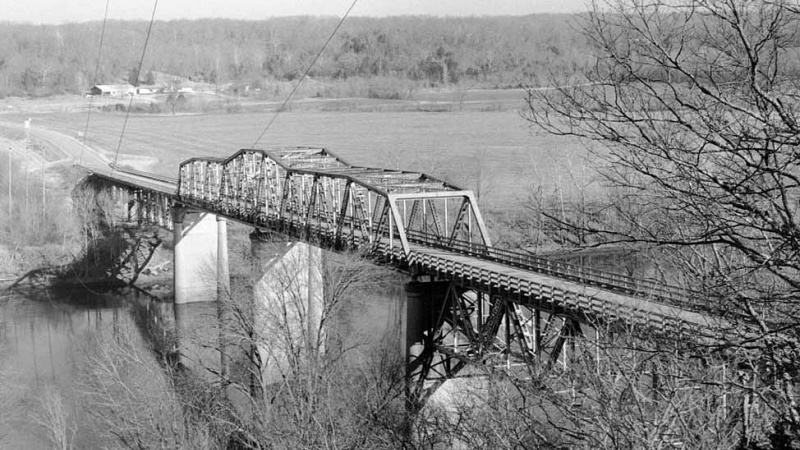 The historic Tuscumbia Bridge over the OSage River.