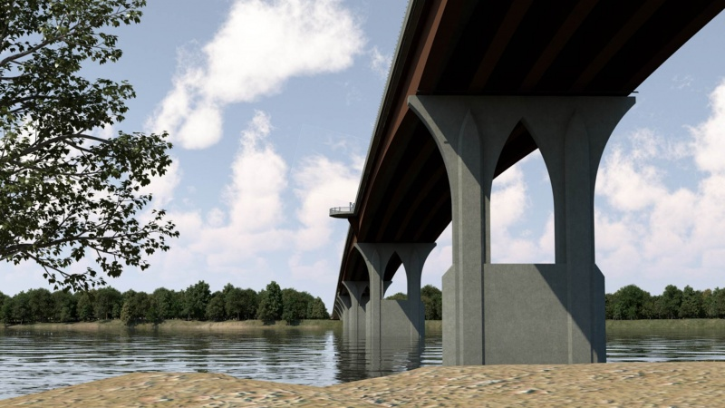 Rendering of underneath the bridge during the day