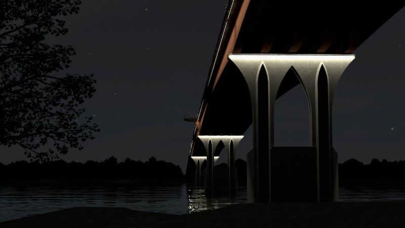 Rendering of underneath the bridge at night