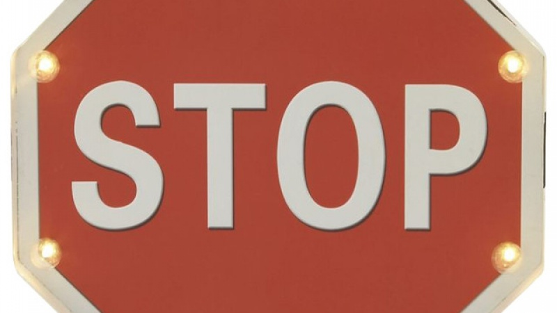 Photo of an LED stop sign.