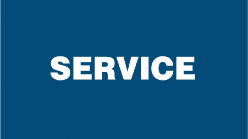 "Medium blue square with ""SERVICE"" text"