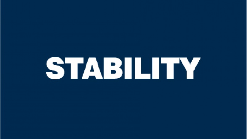 "Dark blue square with ""STABILITY"" text"
