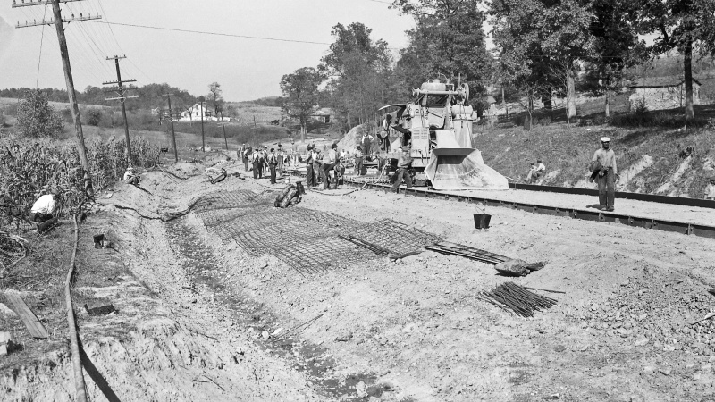 Old photo of constructing a roadway