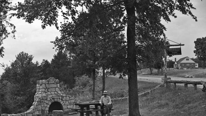 Old photograph of a MoDOT roadside park