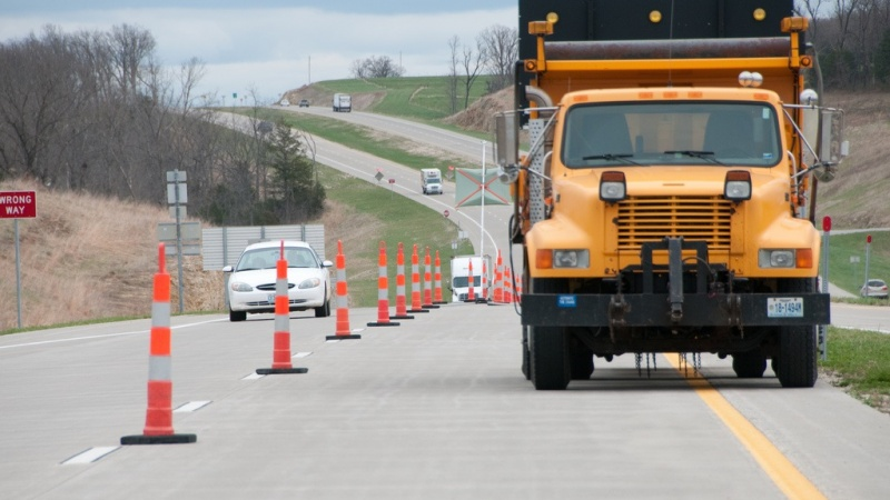 a MoDOT truck in a work zone