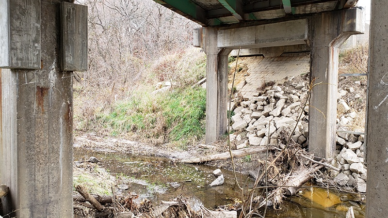Debris under Agee Creek Bridge