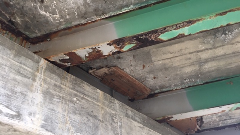 Deterioration on Agee Creek Bridge