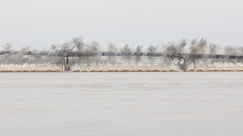 The Old Route 47 Missouri River Bridge was imploded on April 11, 2019