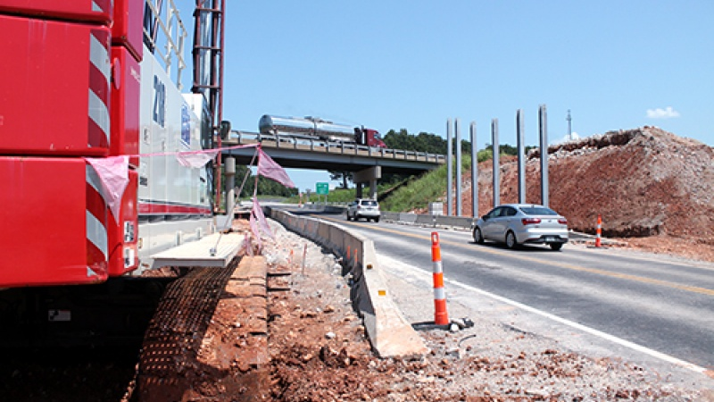 Contractor crews work to replace the bridges over Lawrence County Route H near Mt. Vernon.
