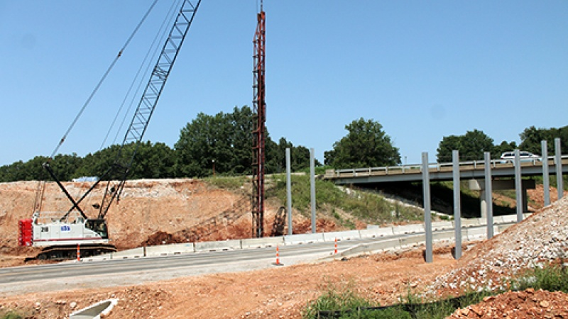 Work to replace the I-44 bridges over Lawrence County Route H.