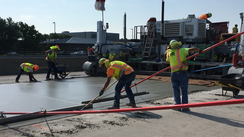 New concrete pavement placed for southbound Route 65 between Sunshine and Glenstone.