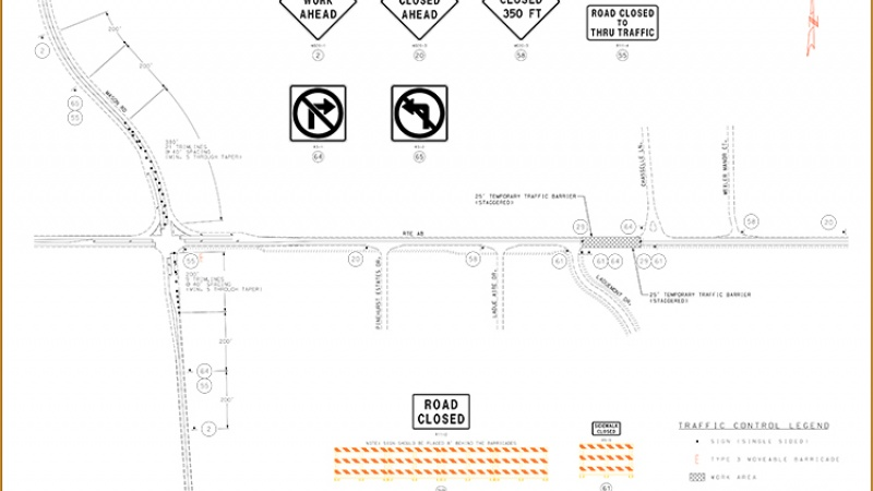 Ladue Road (Route AB)  closure information