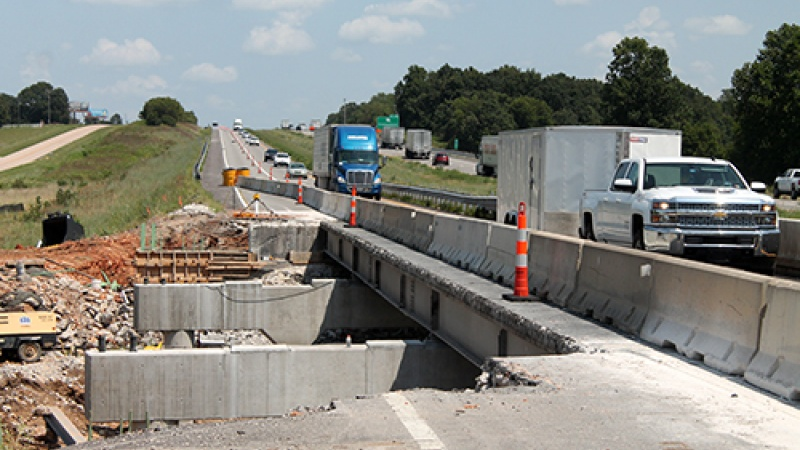 I-44 traffic is reduced to one lane in each direction over Williams Creek east of Mt. Vernon where crews are replacing the bridges.