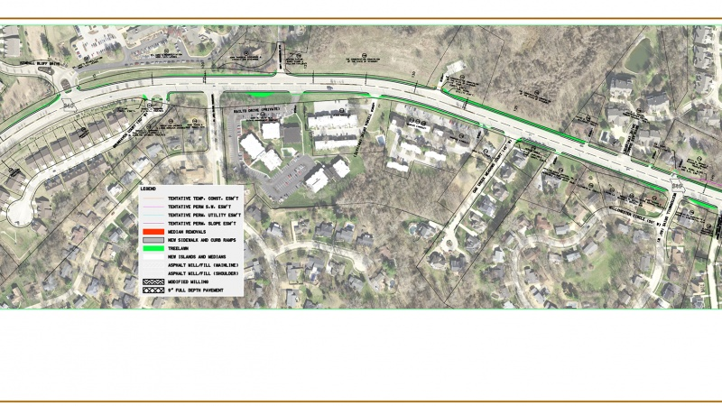 Route 340 project map: Braefield to west of Ladue Bluffs Crossing