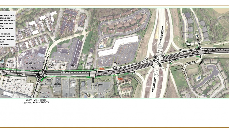 Route 340 project map: Coliseum Drive to Creve Coeur Mill Road