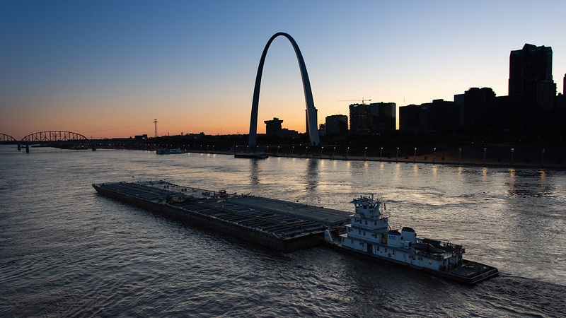 St Louis Skyline with barge