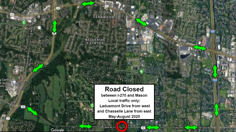 Detour for Ladue Road closure