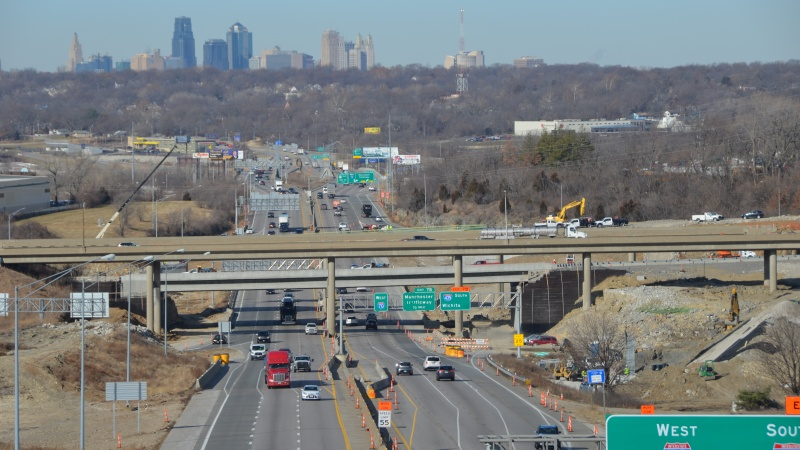 Looking west at new I-435 and I-70 interchange