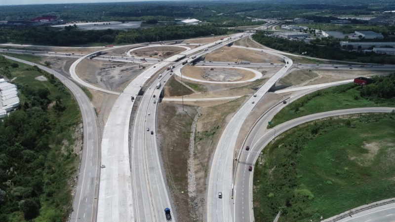 Aerial View of New Design at I-435 and I-70