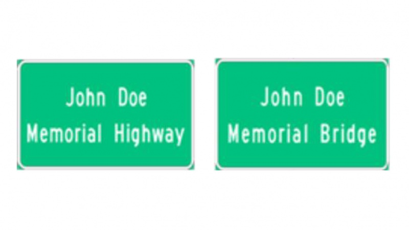 memorial bridge and highway sign examples