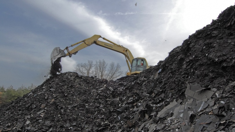 Equipment shifting through recycled shingles