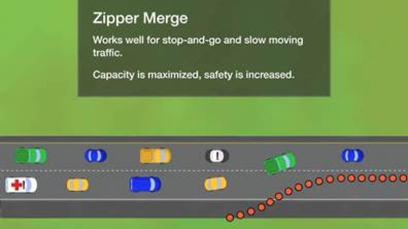 a diagram of a zipper merge